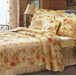 None - Antique Rose 3-piece Quilt Set - Upgrade your bedding with a king-size three-piece quilt set featuring a rose garden print. This set includes one quilt and two shams, all in 100-percent cotton. Boasting warm shades of deep yellow, rich red, and gold, this quilt set will enrich decor.