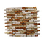Alloy Series Golden Gate 1/2 X Random Glass & Marble Mosaic Tiles - The blend of stone and glass in this handsome mosaic tile is reminiscent of a brick facade, albeit a very chic and sophisticated one. You'll love the subtle injection of color into your kitchen or bathroom with its sleek mix of red and cream marble. Backed with mesh to make installation simple as can be, it also allows each tile to be rearranged for even more design options.