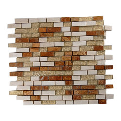 Alloy Series Golden Gate 1/2 X Random Glass and Marble Mosaic Tiles - The blend of stone and glass in this handsome mosaic tile is reminiscent of a brick facade, albeit a very chic and sophisticated one. You'll love the subtle injection of color into your kitchen or bathroom with its sleek mix of red and cream marble. Backed with mesh to make installation simple as can be, it also allows each tile to be rearranged for even more design options.