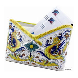 Artistica - Hand Made in Italy - RAFFAELLESCO: Envelope pocket holder - RAFFAELLESCO Collection: Among the most popular and enduring Italian majolica patterns, the classic Raffaellesco traces its origin to 16th century, and the graceful arabesques of Raphael's famous frescoes.