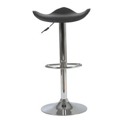 Euro Style - Euro Style Fabia Bar / Counter Stool X-17340 - Contemporary bar chair perfect from top to bottom.  Actually with its uniquely formed seat its especially good with bottoms.  Chrome plated steel makes it sturdy and permanently hip.