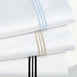 Hotel Collection Bedding, Tuxedo Sheets - Slip into something elegant! Boasting 400-thread count pima cotton, these Hotel Collection Tuxedo sheets provide endless comfort. Striped corners complete the sophisticated look. Available in Queen, King or California King and Black, Champagne or Blue Sky.