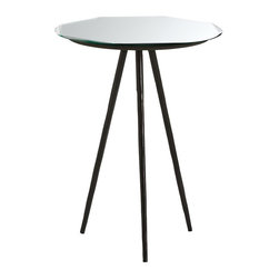 Arteriors - Grenier Accent Table - The Grenier table has a unique octagonal bevel detail on the mirrored top. Legs form a tripod base to support the round top.