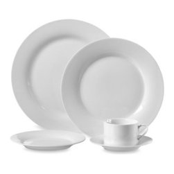 Ten Strawberry Street Ltd. - Round Porcelain 45-Piece Dinnerware Set in White - You'll create an elegant table presentation every time with this white porcelain dinnerware with rounded edges. Its sleek shape and contemporary appeal will make both everyday dining and formal gatherings something special.