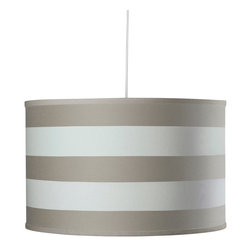 Oilo - Stripe Large Cylinder, Taupe - The crisp wide stripes on this classic drum shade give it a youthful and preppy look. It's a refreshing take on a timeless design and would certainly brighten up any room. A white acrylic sheet ensures a soft glow is diffused over your space, and a 55-inch cord means you are in complete control over its height.