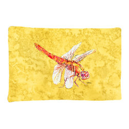 Caroline's Treasures - Dragonfly on Yellow Fabric Standard Pillowcase Moisture Wicking Material - Standard White on back with artwork on the front of the pillowcase, 20.5 in w x 30 in. Nice jersy knit Moisture wicking material that wicks the moisture away from the head like a sports fabric (similar to Nike or Under Armour), breathable performance fabric makes for a nice sleeping experience and shows quality. Wash cold and dry medium. Fabric even gets softer as you wash it. No ironing required.