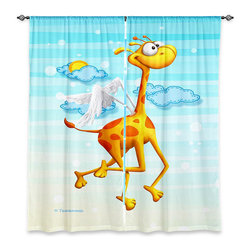 """DiaNoche Designs - Window Curtains Lined by Toosh Toosh Fly Giraffe Fly - Purchasing window curtains just got easier and better! Create a designer look to any of your living spaces with our decorative and unique """"Lined Window Curtains."""" Perfect for the living room, dining room or bedroom, these artistic curtains are an easy and inexpensive way to add color and style when decorating your home.  This is a woven poly material that filters outside light and creates a privacy barrier.  Each package includes two easy-to-hang, 3 inch diameter pole-pocket curtain panels.  The width listed is the total measurement of the two panels.  Curtain rod sold separately. Easy care, machine wash cold, tumble dry low, iron low if needed.  Printed in the USA."""