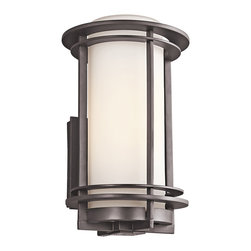 """Kichler 1-Light Outdoor Fixture - Architectural Bronze Exterior - One Light Outdoor Fixture Back plate height: 6""""back plate width: 4. 75""""height from center outlet: 8"""""""