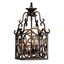 Mariana Lighting - Mariana Lighting Torched Copper Scroll Lantern - Boxy, elegant, lustrous - the detailed design of swirling scroll shapes in the four panels of this grated metal lantern are aged by an antique-styled torched finish on the copper metal structure. Flourished with curlicue loops and curls for the hanging frame of the pendant light, the old-fashioned, traditional style of the lamp makes a rich Old World statement to heighten your room's decor. The light fixture fits three candelabra light bulbs to bring out its vintage inspiration, creating warm, welcoming atmosphere in your space.Crafted with torched copper metalFits three (3) candelabra light bulbs (not included)Hardwired pendant chandelier