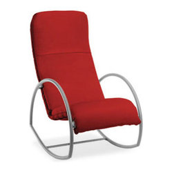 Cirque cushion red rocking chair features a comfortable design ...