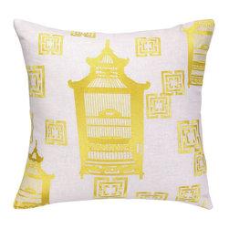 "Peking Handicraft Inc. - Cococozy Birdcage Toile  Embroidered Pillow Yellow 20""""x20"" - ""20X20"""" DF 95% RAMIE 5% COTTON"""