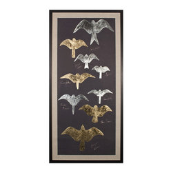Tolstoys Birds 2, Gold Leaf - Varied shades of metallic leaf fill the silhouettes of several species of birds of prey in these dark and distinctive art prints for the birder, the lover of nature, or the bold transitional decorator.  The rectangular Tolstoy's Birds artworks are created in gleaming antiqued metal shades on panels of black paper which has been hand-deckled and floated on beds of linen within well-turned black frames.  The effect is stunning: dramatic enough to catch the eye in any room.