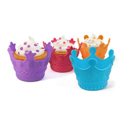 Fred and Friends - Aristocakes - Cupcake Molds-4 - AristoCakes turn any party into a royal ball! Just add these clever, crown-shaped cupcake bakers to the festivities and suddenly your little gathering is as cool as a cotillion. Four jewel-toned crowns are made of food-grade silicone and are royally reusable. Colorful gift box packaging.