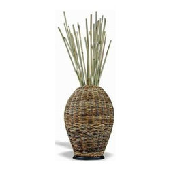 Jeffan International - Woven Abaca Urn w Wood Base & Decorative Sticks - Made from abacca fiber. Made in Indonesia. Natural finish. 7 in. W x 7 in. D x 22 in. H (16 lbs.)Natural abacca fibers made in small jars.
