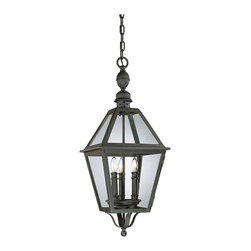 """Troy - Country - Cottage Townsend 28"""" High Outdoor Hanging Light - Traditional and contemporary styles influenced the engineers at Troy Lighting when they created the Townsend outdoor lighting collection. This fixture comes in a Natural Bronze finish which overlays hand-worked wrought iron. A clear glass perfectly complements the style. The chain-hung design lets you place this fixture in locations such as a foyer or stairwell. Natural Bronze finish. Hand-worked wrought iron construction. Clear glass. Chain-hung design. Takes three 60 watt candelabra bulbs (not included). 28"""" high. 11"""" wide.  Natural Bronze finish.  Hand-worked wrought iron construction.  Clear glass.  A Troy Lighting design.  Takes three 60 watt candelabra bulbs (not included).  Damp location rated only.  28"""" high.  11"""" wide."""