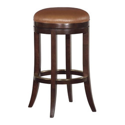 EuroLux Home - New Woodbridge Counter Stool Brown Leather - Product Details