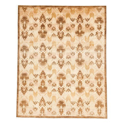 Rug Knots - Stylish Oriental Ikat Rug with Border Gold and White 8x10 - Earthy tones and intricate detailed designs cover this Overdyed-like style Ikat rug, making it fit for any decor enthusiast. Bordered with a dark brown color, the inner design is a detailed array of chevron, diamond, and oblong objects ranging in tones from light tan to dark brown