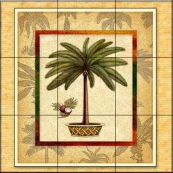The Tile Mural Store (USA) - Tile Mural - Palm Tree 1   - Kitchen Backsplash Ideas - This beautiful artwork by Dan Morris has been digitally reproduced for tiles and depicts a bordered palm tree.  With our enormous selection of tile murals of tropical plants and flowers you can bring your kitchen backsplash tile project to life. A decorative tile mural with plants and flowers is an impressive kitchen backsplash idea and decorative flower tiles also work great in the bathroom. Add splashes of color and life to your tile project with images of flowers on tiles and tiles with pictures of plants.