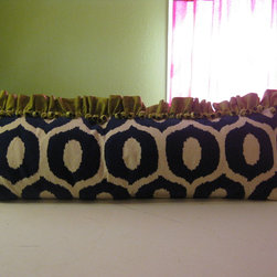 Pillows - custom 18x48 pillow cover with green silk ruffle, green onion and bead trim, and a zipper closure in navy/natural flocked ogee fabric