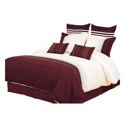 Bed Linens - Vanessa 7-Piece Duvet Cover Set, King - Impressions Collection, Vanessa Duvet Cover Set brings a casual elegance to your bedroom's decor. Small circle link pattern add a touch of modern sophistication presenting a refreshing appeal to any bedroom.