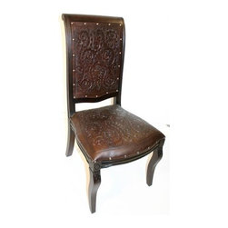 New World Trading - Colonial Imperial Side Dining Chair w Tooled Leather Seat & Back (Antique Brown) - Finish: Antique Brown. Hand tooled leather seat and back. Colonial design. Pictured in Antique Brown. 20 in. L x 20 in. W x 43 in. H (23 lbs.)