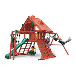 Gorilla Playsets - Sun Palace II Swing Set - Your backyard will be their own getaway with the Sun Palace II Swing Set by Gorilla Playsets!  This swing set was designed to keep kids busy with monkey bars, rock wall and a rope ladder, all while building strength and coordination. The play deck is protected with a tongue and groove wood roof. This premium cedar wood playset is pre-cut, pre-sanded, pre-stained and ready to assemble in your backyard over the weekend. The entire playset is finished in a beautiful redwood stain.  Gorilla Playsets' cedar naturally resists rot, decay, and insect damage.