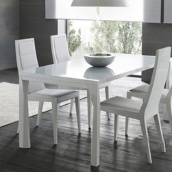 Rossetto Furniture - Prisma White Dining Table with Extensions - R348203000117 - Sapphire Collection Dining Table