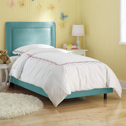 "Skyline Furniture - Border Micro-Suede Youth Bed - Add some style to your child's bedroom with this fun border bed Hand made in the USA, it features durable micro-suede upholstery. Fits standard sized mattress and box spring sets. Easy to assemble. Features: -Bed.-Upholstered in 100% polyester.-Fits standard size mattress and box spring sets.-Deep diamond tufts and durable micro-suede.-Polyurethane foam padding.-Hand made.-Requires mattress and box spring.-Made in the USA.-Solid wood frame construction.-Border collection.-Hardware Finish: Black Metal.-Distressed: No.-Hardware Material: Metal.-Mattress Included: No.-Fits Crib Mattress: No.-Box Spring Included: No.-Slats Required: No.-Slat System Included: Yes.-Number of Slats Included: 1.-Center Support Legs: Yes.-Number of Center Support Legs: 1.-Bed Rails: No.-Recommended Age Range: 4 and up.-Also Suitable for Adults: Yes.-Wingback: No.-Nailhead Trim: No.-Wood Moldings: No.-Canopy Frame: No.-Canopy Included: No.-Lighted Headboard: No.-Adjustable Headboard Height: Yes.-Underbed Storage: No.-Trundle Bed Included: No.-Guardrails: No.-Hidden Storage: No.-Jewelry Compartment: No.-Attached Nightstand: No.-Media Outlet Hole: No.-Built in Outlets: No.-Weight Capacity: 250 lbs.-Finished Back: No.-Commercial Use: No.-Eco-Friendly: No.-Product Care: Spot clean only.Specifications: -FSC Certified: No.-EPP Compliant: No.-CPSIA or CPSC Compliant: Yes.-CARB Compliant: Yes.-JPMA Certified: No.-ASTM Certified: No.-ISTA 3A Certified: Yes.-PEFC Certified: No.-General Conformity Certificate: Yes.-Green Guard Certified : No.Dimensions: -Overall Height - Top to Bottom (Size: Full, Twin): 51"".-Overall Width - Side to Side (Size: Twin): 41"".-Overall Width - Side to Side (Size: Full): 56"".-Overall Depth - Front to Back (Size: Full, Twin): 78"".-Headboard Height Top to Bottom: 27"".-Headboard Width Side to Side (Size: Twin): 41"".-Headboard Width Side to Side (Size: Full): 56"".-Headboard Depth Front to Back: 4"".-Footboard Height: 9.25"".-Top of Headboard to Bedframe: 27"".-Base of Headboard to Floor: 24"".-Bottom of Side Rail to Floor: 4"".-Side Rail Length: 77"".-Overall Product Weight (Size: Twin): 82 lbs.-Overall Product Weight (Size: Full): 89 lbs.Assembly: -Assembly required.-Tools Needed: Allen wrench.-Additional Parts Required: No.Warranty: -Manufacturer provides 1 year limited warranty excluding fabric."