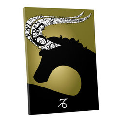 """PingoWorld - Zodiac Sign Capricorn Gallery Wrapped Canvas Print, 20""""x16""""x1.25"""" - Zodiac Sign Capricorn. Gallery wrap on archival quality canvas using Epson Ultra-Chrome inks and pine wood frames."""