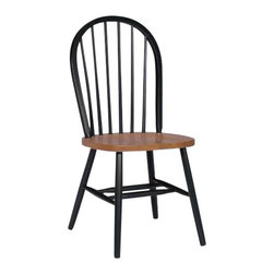 International Concepts - International Concepts Windsor Wood Side Chair in Black and Cherry Finish - International Concepts -Dining Chairs -C57212 -Appealing versatile and practical the country style International Concepts Spindle back Windsor Chair is both stylish and comfortable. It features a classic spindle backrest that is gently curved for added support. An excellent way to update a dining space or entertaining area it includes angled back legs for stability.
