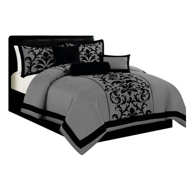 Alyssa Home - 7pc Traditional Damask Print Satin Comforter Set with Cushions, Grey, Queen - 7pc Flocking Faux Silk comforter set with Damask Print Repeating pattern and matching cushions and shams.
