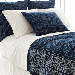 """Pine Cone Hill - PCH Resist Dot Indigo Coverlet - Inspired by an artistic block print, the Resist Dot coverlet lends a touch of global glamour. This contemporary PCH blanket boasts the chic yet casual style in indigo, navy and white. 96""""W x 96""""H; 100% cotton; Navy reverse with blue and white quilting; Tailored edge; Designed by Pine Cone Hill, an Annie Selke company; Machine wash"""