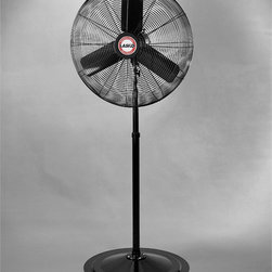 "Lasko - 30"" Osc. Industrial Pedestal Fan, 3-Speeds - The Lasko 3135 30 In. Oscillating Industrial Grade Pedestal Fan, in black, makes easy work of cooling warehouses, auditoriums, health clubs, and other large spaces. For large-scale air circulation, this heavy-duty, high velocity fan fits the bill. With an adjustable height from 64 to 92 inches you will be able to direct air to the locations you need. Pull cord style controls allow for easy control of speeds and on /off. This fan is the answer for maximum high velocity air circulation.30-inch industrial grade pedestal fan for large-scale air circulation