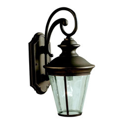 KICHLER - KICHLER Eau Claire Traditional Outdoor Wall Sconce X-ZO7439 - This Kichler Lighting outdoor wall sconce features contemporary lines and curvature that compliment the classic tapered lantern shape. From the Eau Claire Collection, a warm Olde Bronze finish is accentuated by the antique clear glass shade. U.L. listed for wet locations.