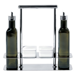 Alessi - Alessi Trattore Olive Oil Set - This convenient station for olive-oil bottles allows you to take a trip to California, Spain, Italy and Greece, via your taste buds. It holds up to four bottles and is the only piece of luggage you'll need.