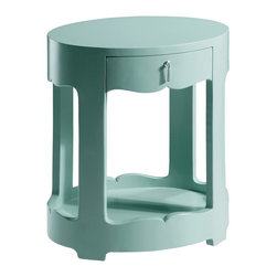Bungalow 5 Brigette Light Blue 1 Drawer Side Table - Brigitte Light Blue 1 Drawer Side Table In Light Blue Lacquer Finish.