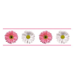 RoomMates - Flower Power Peel & Stick Border - RMK1012BCS - Shop for Wallborders from Hayneedle.com! A beautiful array of fresh Gerber Daisies awaits all who choose this delightful wall strip for the bathroom locker bedroom wherever! Completely removable without causing damage or leaving residue it is a great selection for the indecisive among us and simply those who like to change things up. This sticker will maintain its adhesiveness practically forever and is offered with a separate set of individual Gerber Daisies and polka dots. Redecorate? Piece of cake.These stickers will work on just about any surface but take care with wallpaper or some delicate surfaces. If in doubt test in an inconspicuous place prior to applying all the stickers. Also wait 10 to 15 days after painting before using stickers. Though the paint feels dry it needs adequate time to cure. As with any adhesive product these will work much better on clean surfaces free of dust and the like. Specifically they will work well on surfaces including but not limited to walls mirrors your fridge laptop covers tile glass lockers furniture and automotive surfaces.Please note this product does not ship to Pennsylvania.