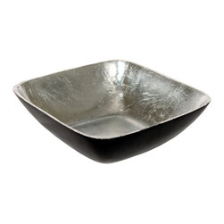 Foreign Affairs Home Decor - KENU Square Antique Bronze Bowl with silvered Interior - Modern square bowl with antiqued bronze exterior and silver pressed intrior. The silvered, handmade interior makes it a statement piece.