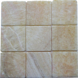 """Marbleville - Honey Onyx 4"""" x 4"""" Tumbled Mosaic Floor and Wall Tile - Premium Grade Honey Onyx 4"""" x 4"""" Square Pattern Tumbled Finish  Mosaic is a splendid Tile to add to your decor. Its aesthetically pleasing look can add great value to any ambience. This Mosaic Tile is made from selected natural stone material. The tile is manufactured to high standard, each tile is hand selected to ensure quality. It is perfect for any interior projects such as kitchen backsplash, bathroom flooring, shower surround, dining room, entryway, corridor, balcony, spa, pool, etc."""