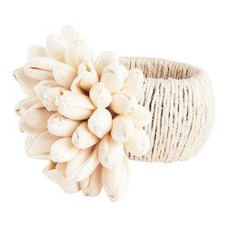 Saro - Jute Tulip Napkin Ring, Natural SET/4 - Jute Tulip Napkin Ring, Natural SET/4