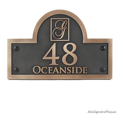 Monogram Arch Address Plaque 15 x 10 in Bronze Patina - A Monogram Arch Address Plaque. Monogrammed to your specifications. Personalized monogrammed gifts are always appreciated. Great Wedding Gift or House warming gift!