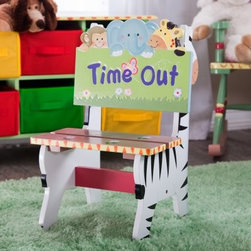 Teamson Design Sunny Safari Time Out Chair - Make time outs more bearable with this animal-themed time out chair. The Teamson Sunny Safari Time Out Chair is hand-painted with flowers and zoo animals, including zebras on the sides and a monkey, elephant, and giraffe on the top of the backrest. This sturdy children's chair is handmade from durable wood composite for long-lasting quality and stability. The paint used has been tested and verified to be free of lead to ensure your child's safety. Recommended ages 2-6 years. Dimensions: 13L 12.5W x 20.5H inches. Using a special chair for time out can help your child understand the disciplinary message you're trying to give. This cheerful, Sunny Safari time out chair will give your child a familiar place for quiet and reflection. About Teamson DesignBased in Edgewoood, N.Y., Teamson Design Corporation is a wholesale gift and furniture company that specializes in handmade and hand-painted kid-themed furniture collections and occasional home accents. In business since 1997, Teamson continues to inspire homes with creative and colorful furniture.