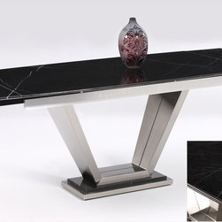 Chintaly Imports - Jessy Solid Marble Pedestal Dining Table with Two Pop Up Extensions - Black lacquer finish Marquina Marble rectangular dining table, V shaped pedestal base. Brushed stainless steel. Two 12 self-storing pop up extensions.
