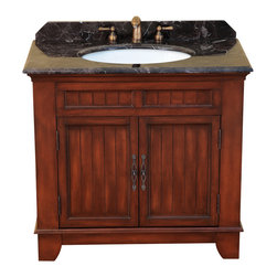 "Bosconi - 36"" Bosconi T-3614 Single Vanity - Combining storage space and luxury, this solid wood vanity is finished in lustrous dark cherry and accented with antique brass and a dark marble countertop. Yet its single cabinet offers ample space beneath."