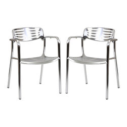 LexMod - Toledo Style Outdoor Aluminum Accent Chair Set of 2 - The unique appearance of the Toledo Style Outdoor Accent Chair spurs the imaginative faculties into full gear. Containing a vision of the future already in the present; the time continuum is virtually one extension. Embody intangible wisps of thoughts into an inexhaustible fountain of creative momentum.