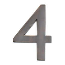 "Architectural Mailboxes - 5"" Floating House Number Dark Aged Copper, Dark Copper, 4.0 - The Solid Cast Brass 5"" Floating House Numbers offer four classically elegant finishes - antique brass, antique copper, satin nickel, and dark aged copper. Each house number is hand finished in a premium metallic finish. They can be mounted either flush with the wall or you can leave the mounting screws partially out of the holes for a floating number effect. No holes or unsightly screw heads are shown. The House Numbers compliment  Peninsula Mailboxes, Metropolis Mailboxes and the brass accents on Coronado Mailboxes.  Includes installation instructions and hardware."