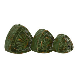 Triangle Green Polished Metal Box, Set of 3 - Description: