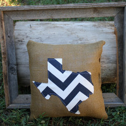 Chevron State Burlap Pillow by iSewBlessed - How about a pillow showing off your state pride. Plus, the chevron pattern is still quite popular, not to mention anything that looks remotely like burlap.