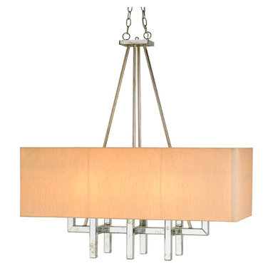 Eclipse Rectangle Chandelier by Currey and Company - Eclipse Rectangle Chandelier features wrought iron in Granello Silver antique silver leaf finish and Antique Mirror plates on the arms and candle cups with French Beige Shantung shades.