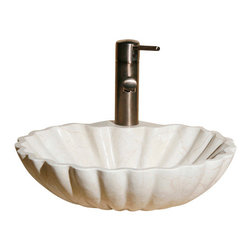 The Allstone Group - V-VSH17 Crema Marfil Polished Vessel Sink - Natural stone strikes a balance between beauty and function. Each design is hand-hewn from 100% natural stone.  Vessel sinks can be the most inspiring feature in a bathroom, adding style and beauty to any bath space.  Stone not only is pleasing to the eye but also has the feel of something natural and solid.